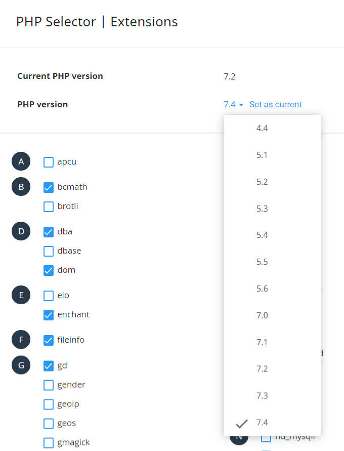 A2 Hosting PHP Selector