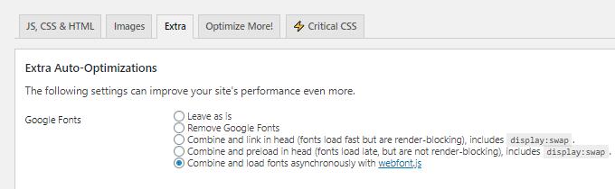 Autoptimize Google Fonts Asynchronous Load