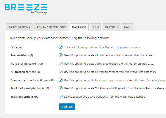 Breeze Database Cleanup