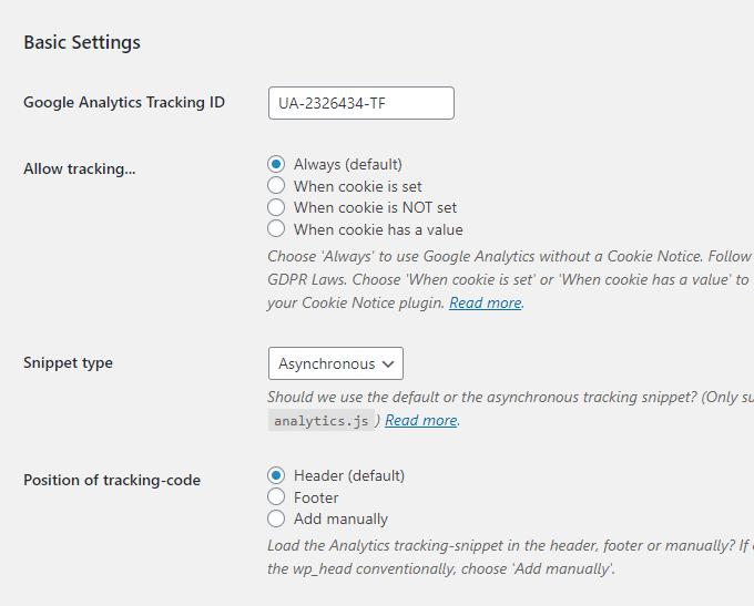 CAOS Analytics Settings