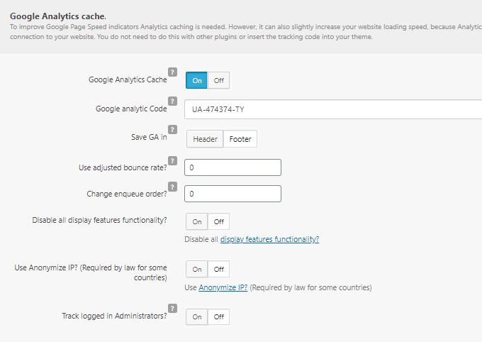 Clearfy Google Analytics Cache