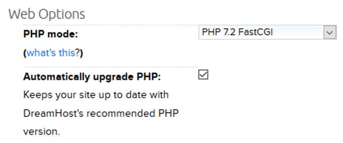 Dreamhost PHP Update