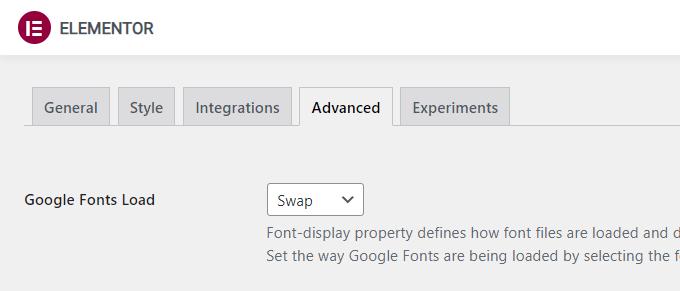 Elementor Google Fonts Load