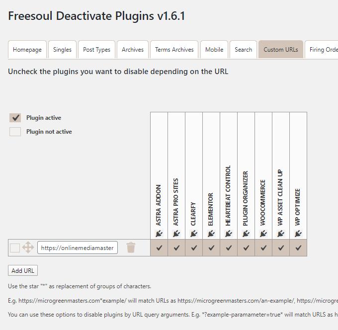 Freesoul Deactivate Plugins Custom URL