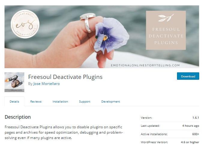 Freesoul Deactivate Plugins