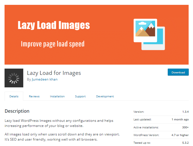 Lazy Load for Images plugin