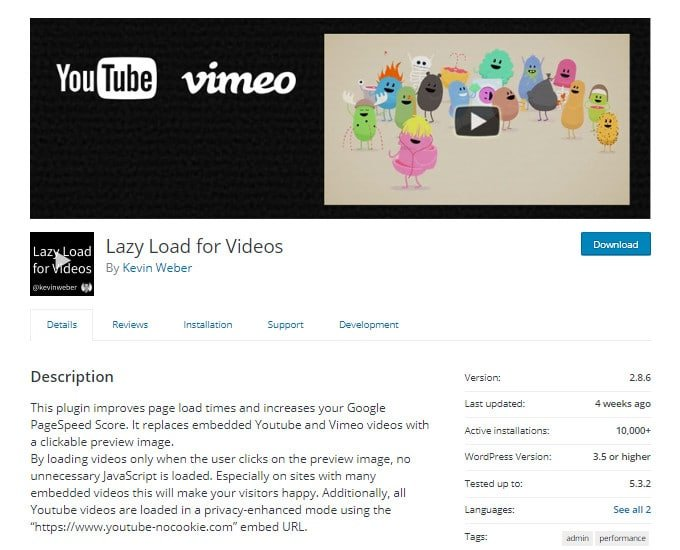 Lazy Load for Videos Plugin