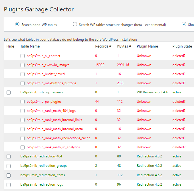 Plugins Garbage Collector Scan