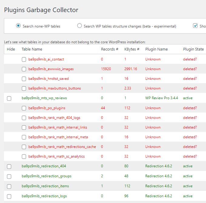 Plugins Garbage Collector Scan