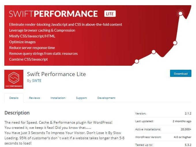 Swift Performance Lite plugin