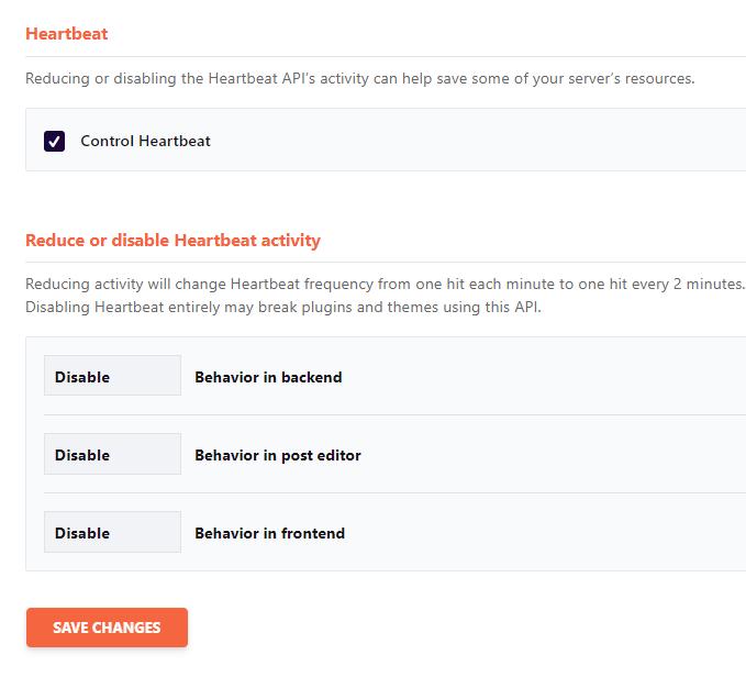 WP Rocket Heartbeat Control Settings