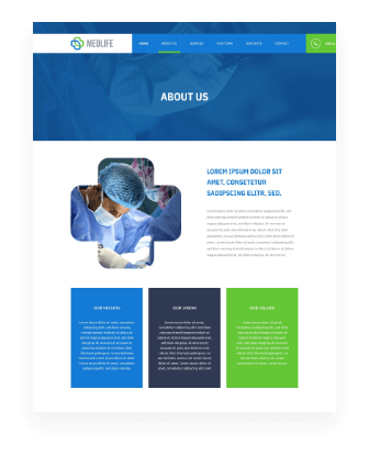 medical web design about us