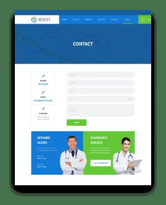 medical web design contact us