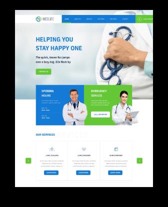 medical web design home