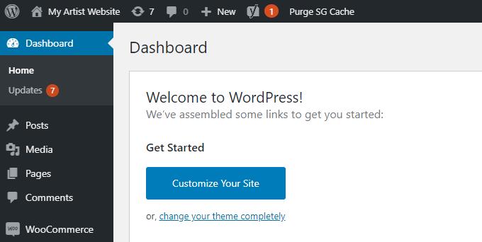 Artist-WordPress-Dashboard
