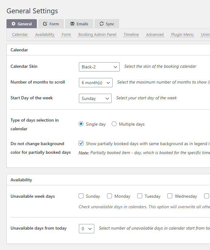 Booking-Calendar-Settings