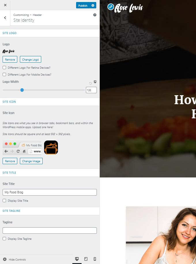 Food-Blog-Site-Identity-Settings