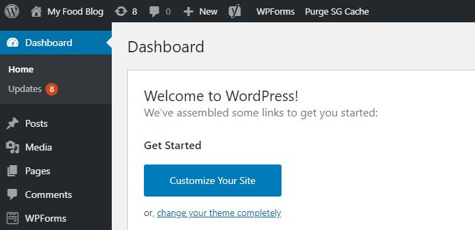 Food-Blog-WordPress-Dashboard