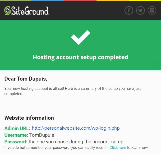 Personal-Website-Account-Setup