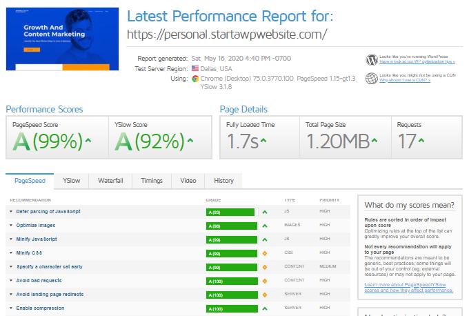 Personal-Website-GTmetrix-Report