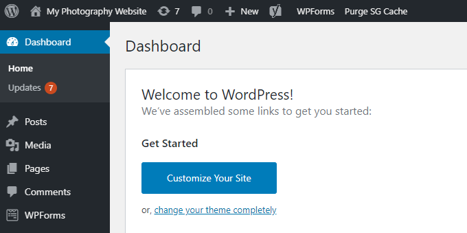 Photography-WordPress-Dashboard