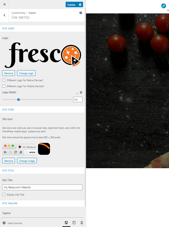 Restaurant-Site-Identity-Settings