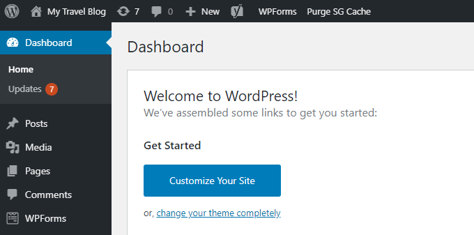 Travel-Blog-WordPress-Dashboard