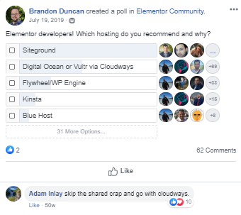 Elementor Hosting Poll