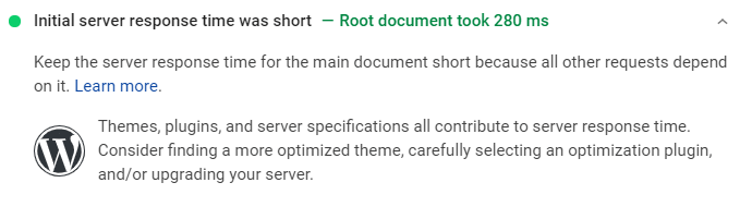 Short Server Response Time