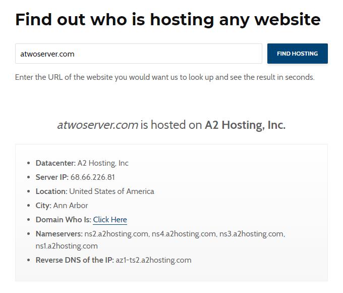 A2 Hosting Confirmation