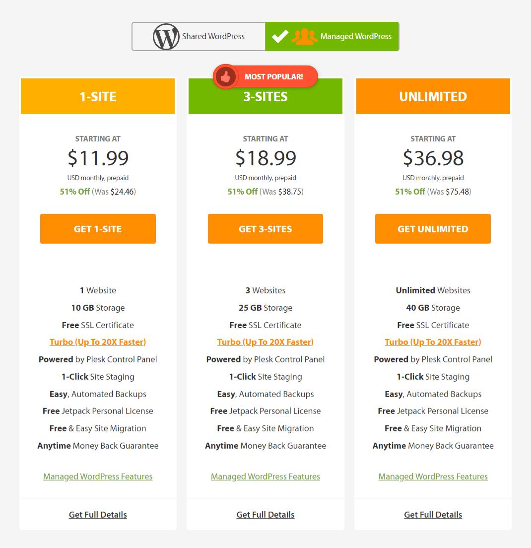A2 Hosting Managed WordPress Pricing