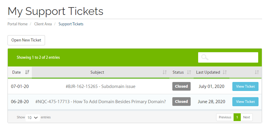 A2 Hosting Support Tickets
