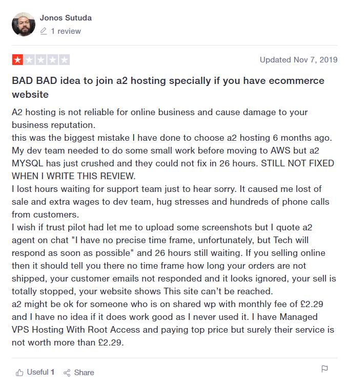 Bad A2 TrustPilot Review