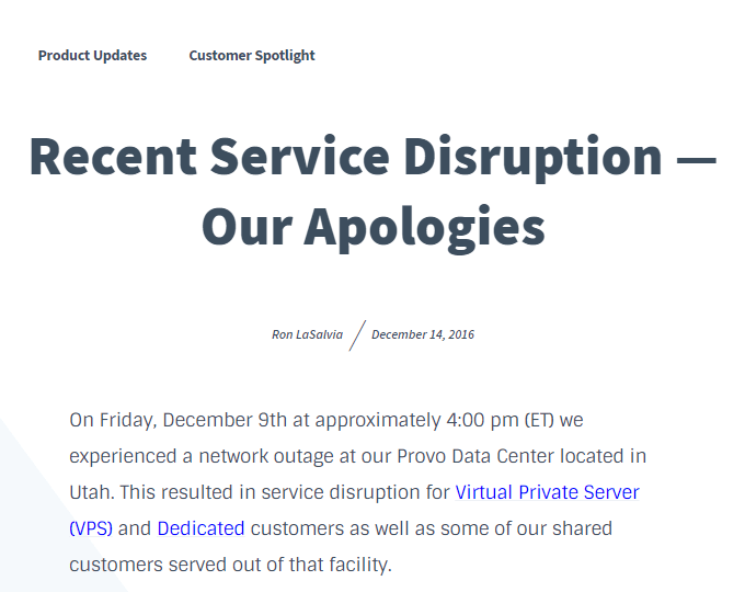 Bluehost Apology Letter