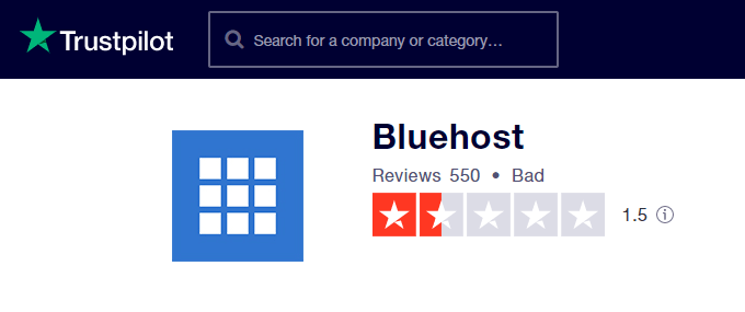 Bluehost TrustPilot Review 1