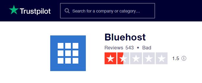 Bluehost TrustPilot Review