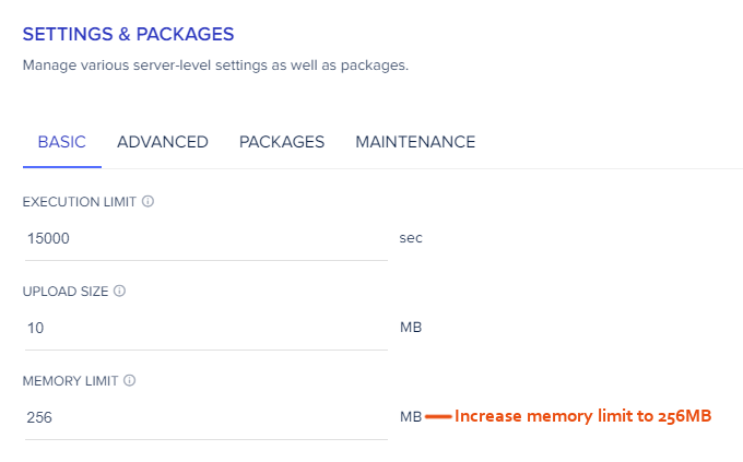 Cloudways Memory Limit
