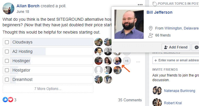 Hosting Facebook Poll