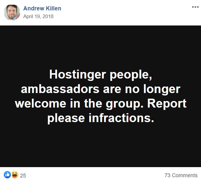 Hostinger Banned