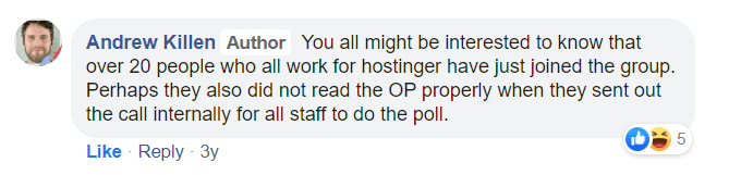 Hostinger Biased Facebook Poll