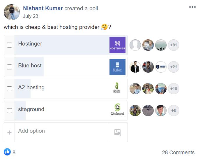 Hostinger Facebook Poll 2020