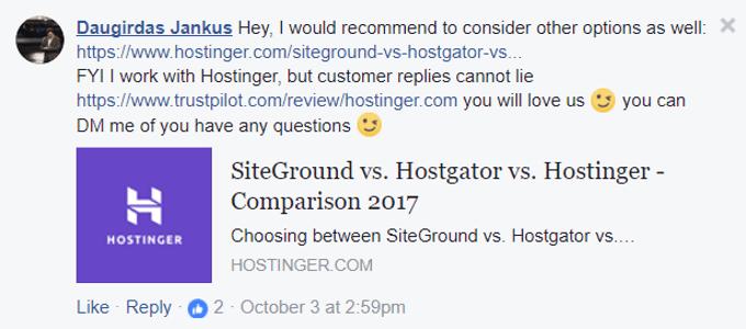 Hostinger TrustPilot Review