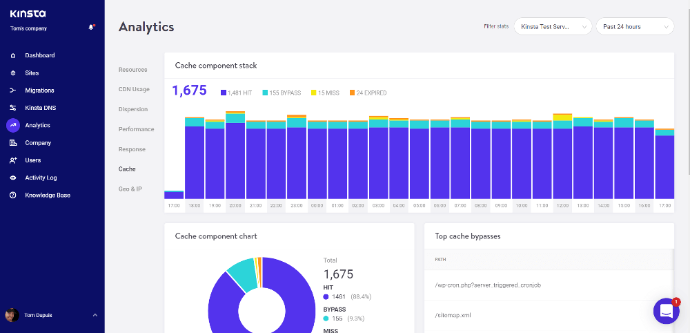 Kinsta Analytics Cache