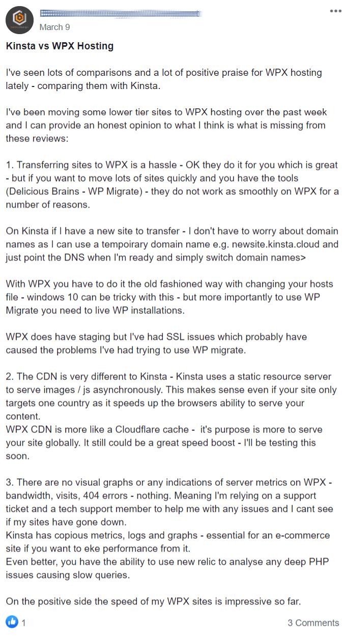 Kinsta vs WPX Hosting