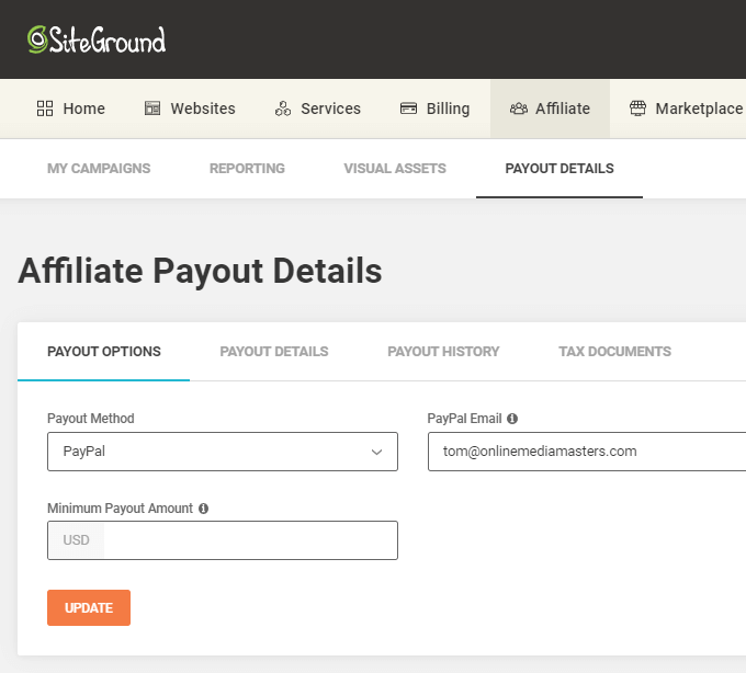 SiteGround Affiliate Payout Details
