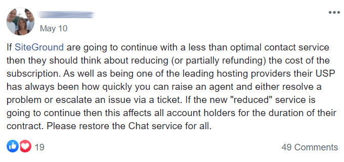 SiteGround Support Feedback
