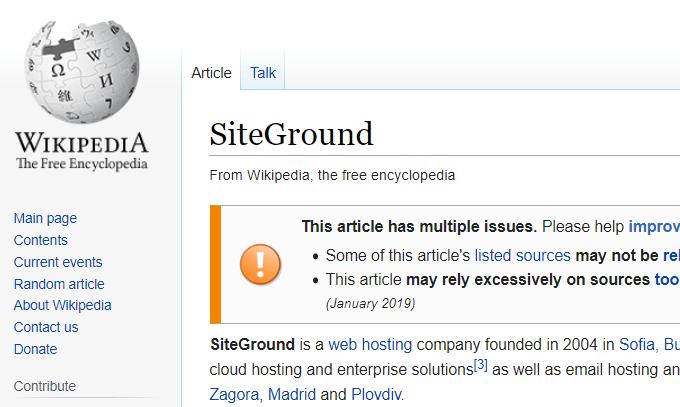 SiteGround Wikipedia Page
