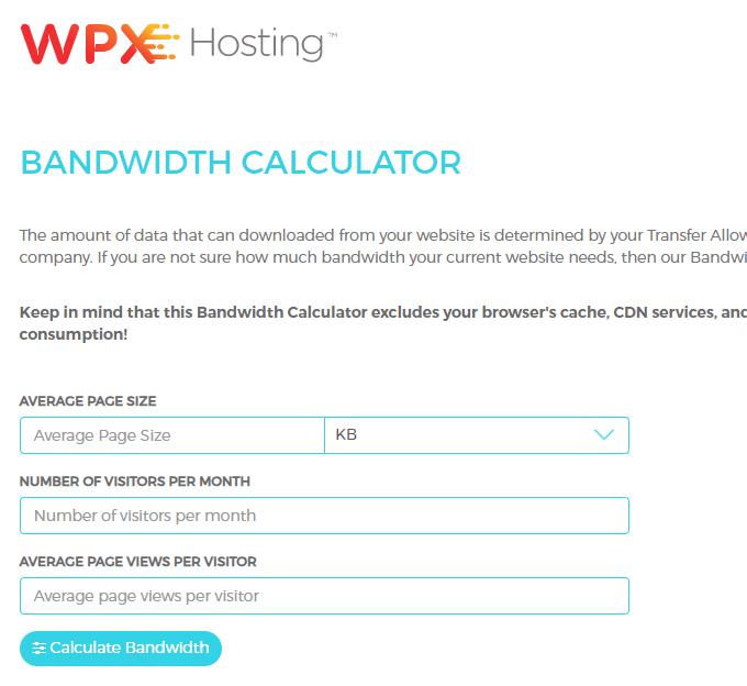 WPX Bandwidth Calculator