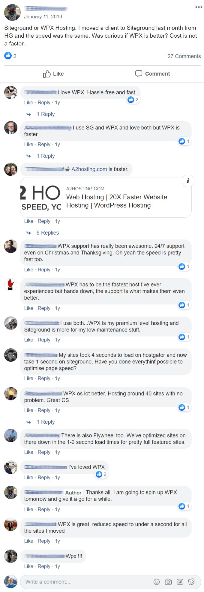 WPX Hosting Facebook Reviews