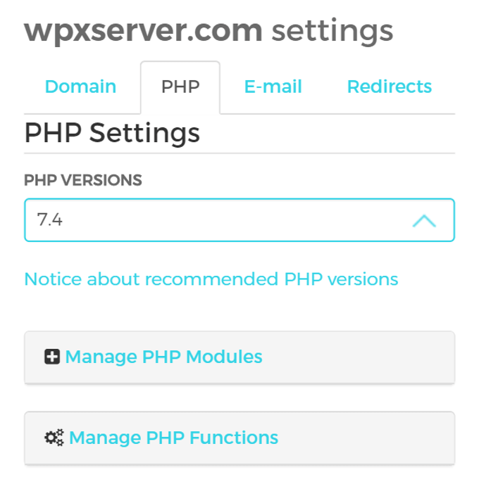 WPX Hosting PHP Settings